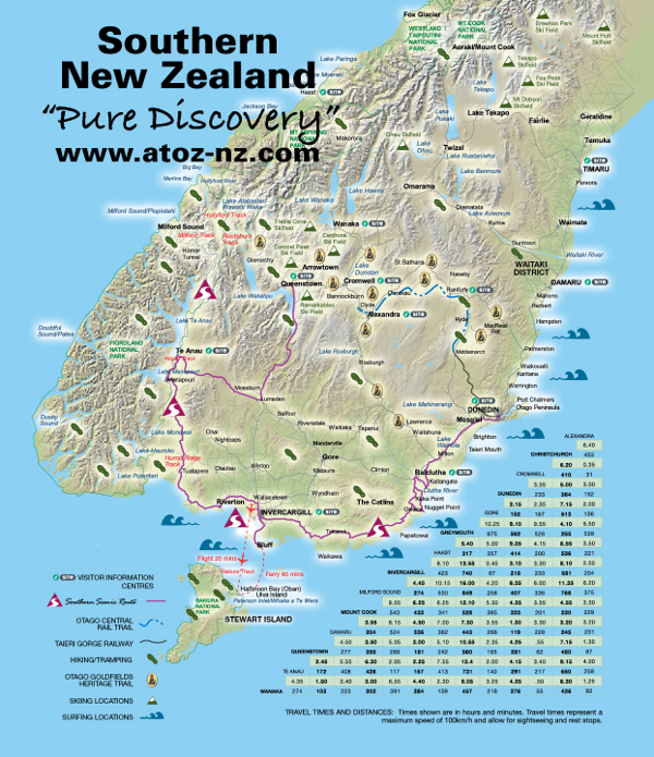 Southern Scenic Route South Island New Zealand Self Drive – Map Driving Route